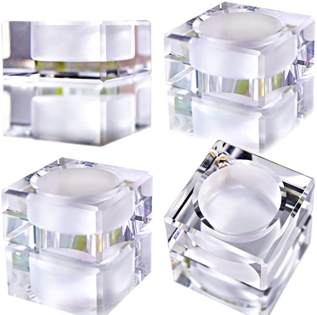QF 4 Pack Square Tealight Candle Holders Dinner Table Decor for Home