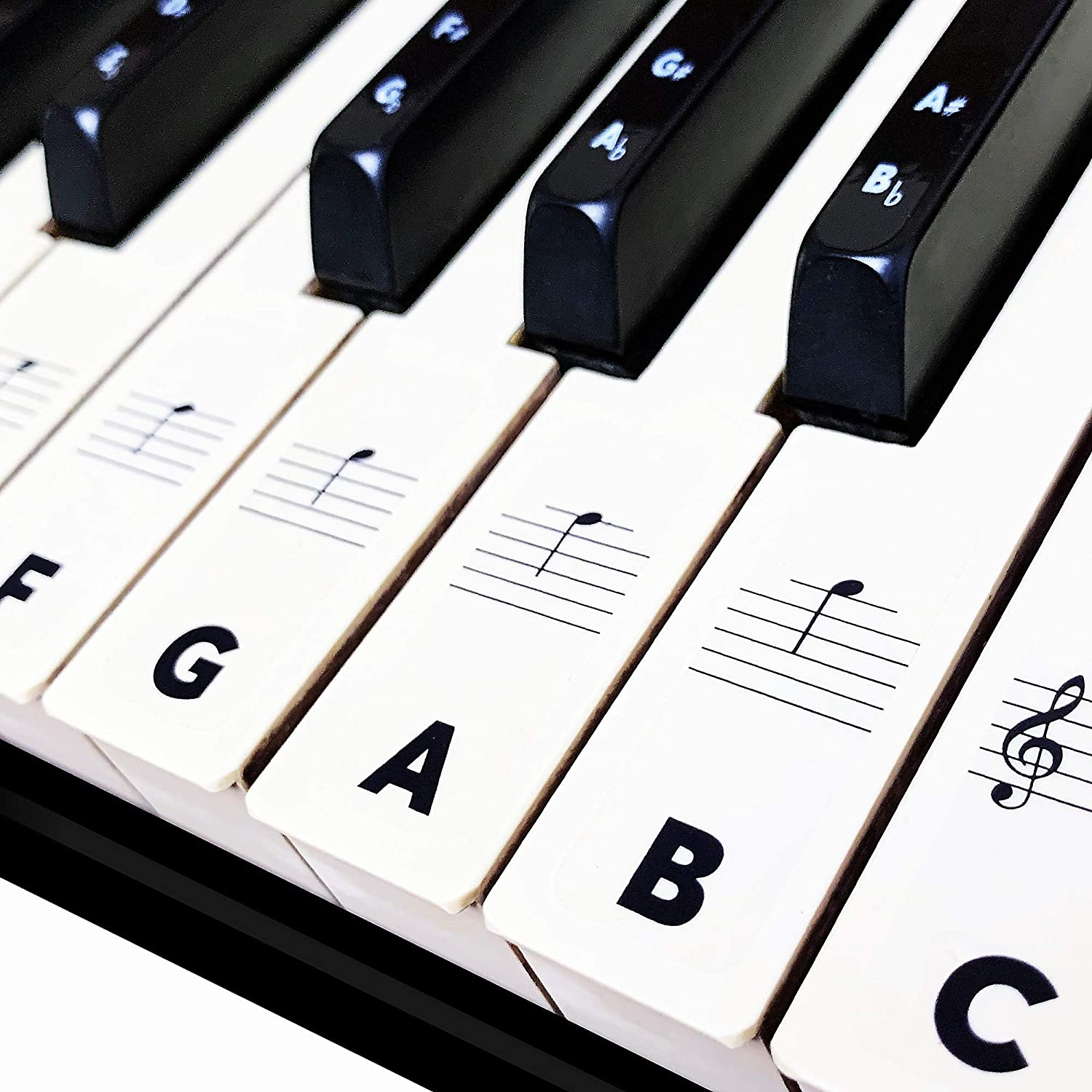 Piano Keyboard Stickers for Beginners 88/76/61/54/49/37 Keys - Removable, Transparent, Double Layer Coating Piano Stickers - Perfect for Kids, Big Letters, Easy to Install with Cleaning Cloth