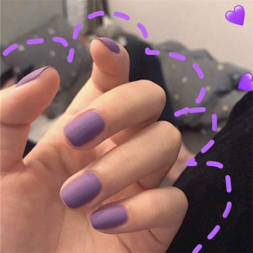 Aimimier 24Pcs Ballerina Matte False Nails Pure Color Short Full Cover Coffin Nails with Glue Sticker Boho Prom Party Festival Clip on Nails for Women and Girls (Purple)