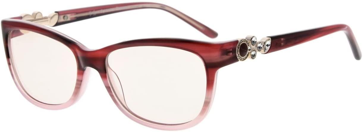 Eyekepper Womens Cat-Eye Computer Reading Glasses-Acetate Frame Blue Light Blocking Readers, Amber Tinted Lenses (Red,+2.00)