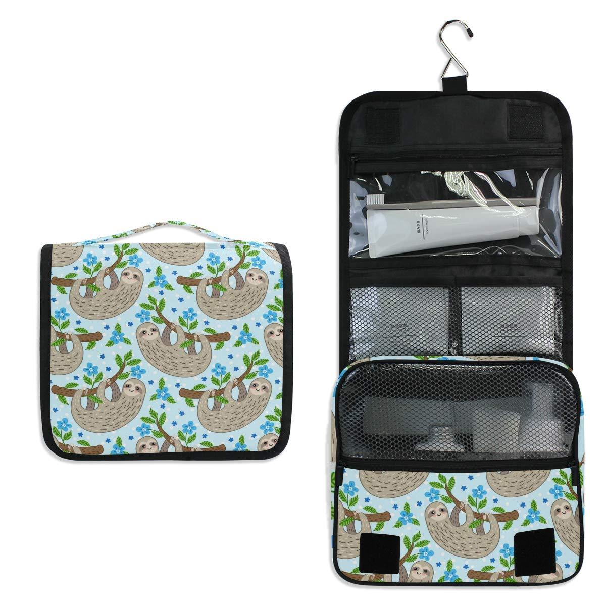 XMCL Hanging Toiletry Bag Animal Sloth Tree Pattern Portable Travel Cosmetic Makeup Organizer Wash Bag with Hanging Hook for Women Men