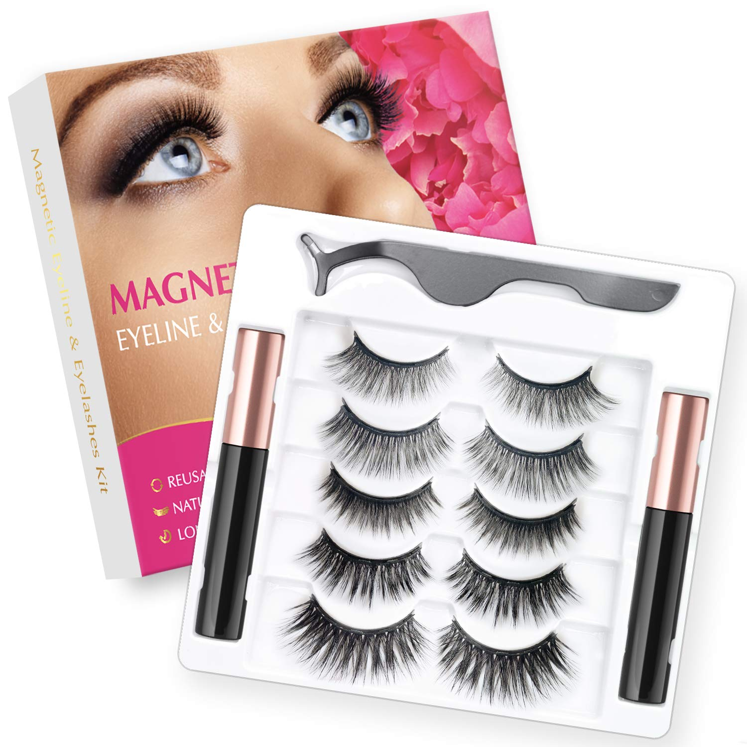 Visismile Magnetic Eyelashes and Magnetic Eyeliner Kit, 5 Pairs of Different Styles Reusable 3D Magnetic Eyelashes with 2 Special Magnetic Eyeliners and Tweezers, with Natural Look