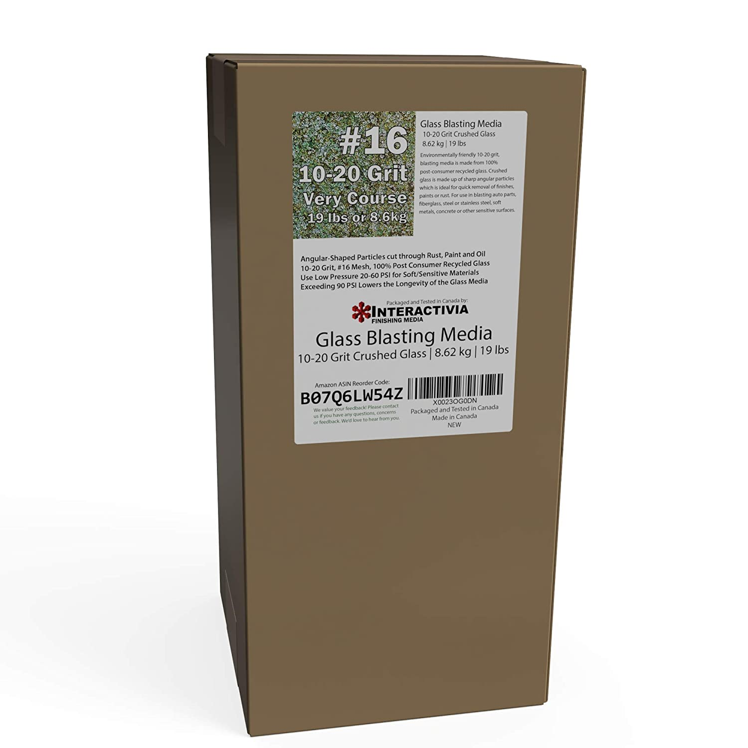 10-20 Grit (#16) Crushed Glass Abrasive - 19 lb or 8.6 kg - Blasting Abrasive Media (Extra Course) #16 Mesh - 1854 to 940 Microns - for Blast Cabinets Or Sand Blasting Guns