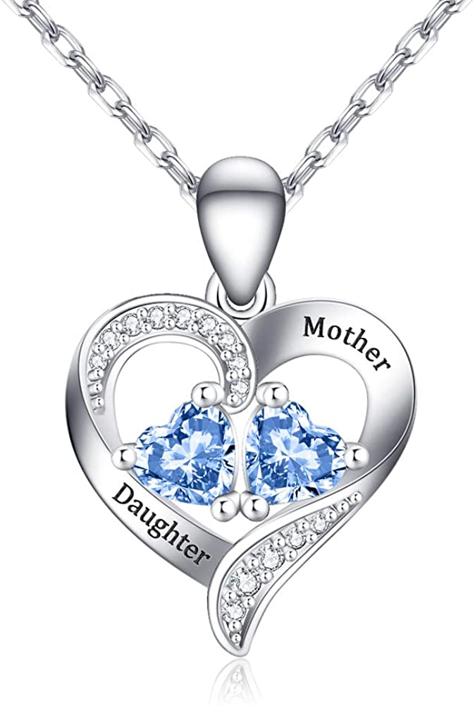 Personalized Heart Necklace with Birthstone, 925 Sterling Silver Mothers Pendant Necklace Custom Jewelry Gift for Women