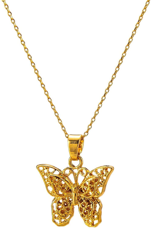 "kelistom 14K Gold/18K Gold Plated Hollow Butterfly Pendant Necklace for Women Men Girls Boys, 2"" Extension"