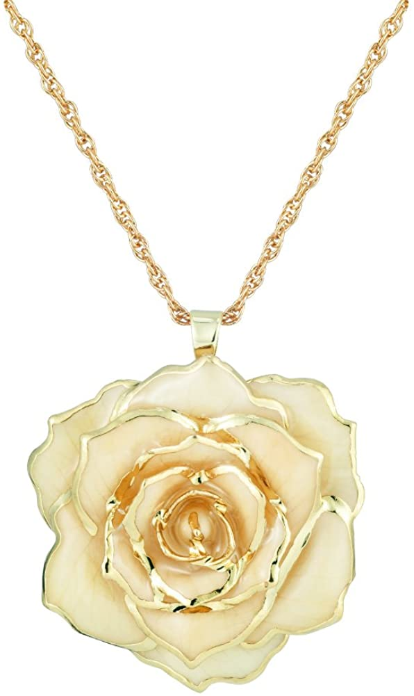 ZJchao 30mm Golden Necklace Chain with 24k Gold Dipped Real Rose Pendant Gift for Women
