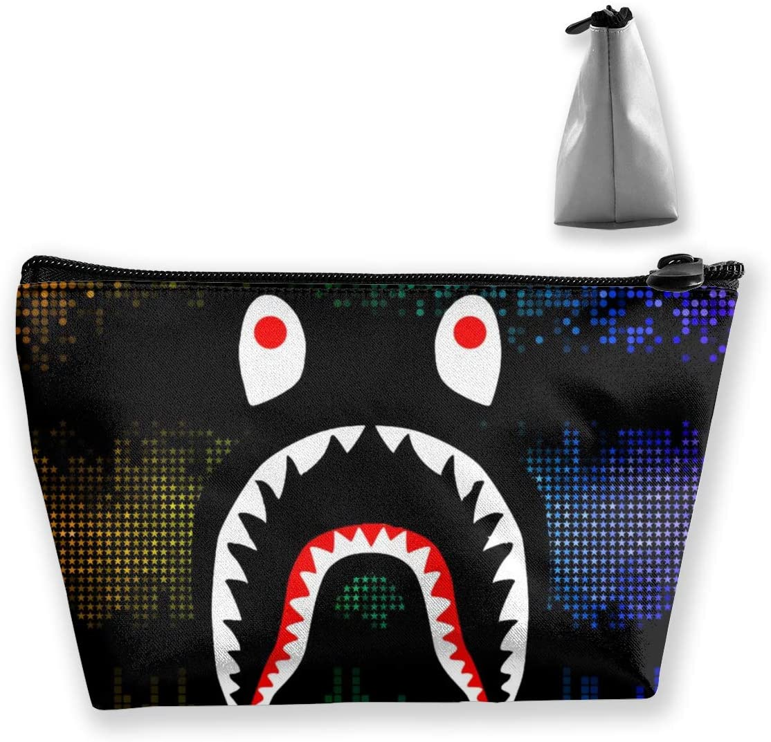 NiYoung Dark Mosaic Banners Ba-pe Shark Storage Bag Pouch Portable Gift for Girls Women Large Capacity Cosmetic Train Case for Makeup Brushes Jewelry Casual Travel Bag
