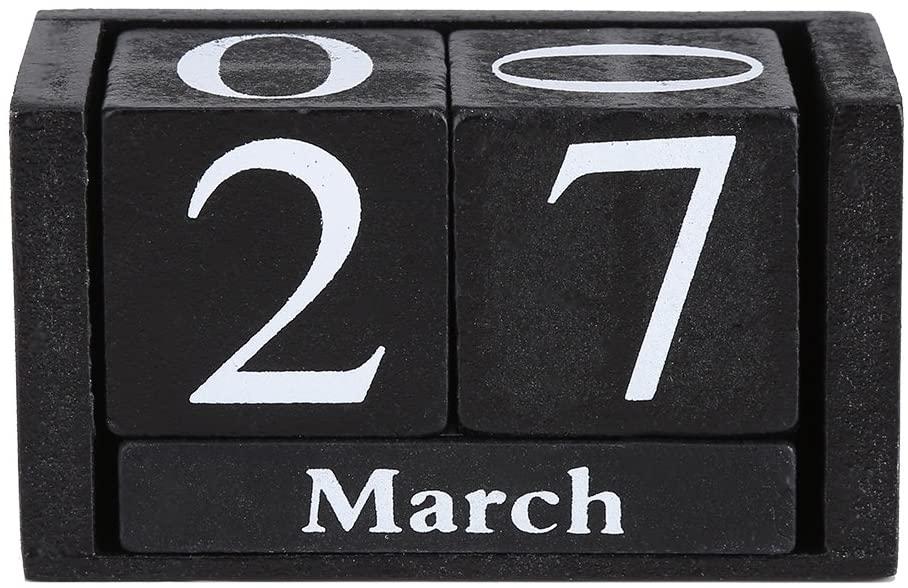 GLOGLOW Vintage Wooden Calendar Home Office Desktop Wood Block Month Date Display Decoration(01)