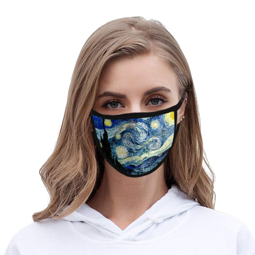 Funyrich Starlit Sky Face Mask Blue 3D Starry Night Printed Reusable Cotton Face Masks Stars Masquerade Ball Face Mask Decoration for Women and Men