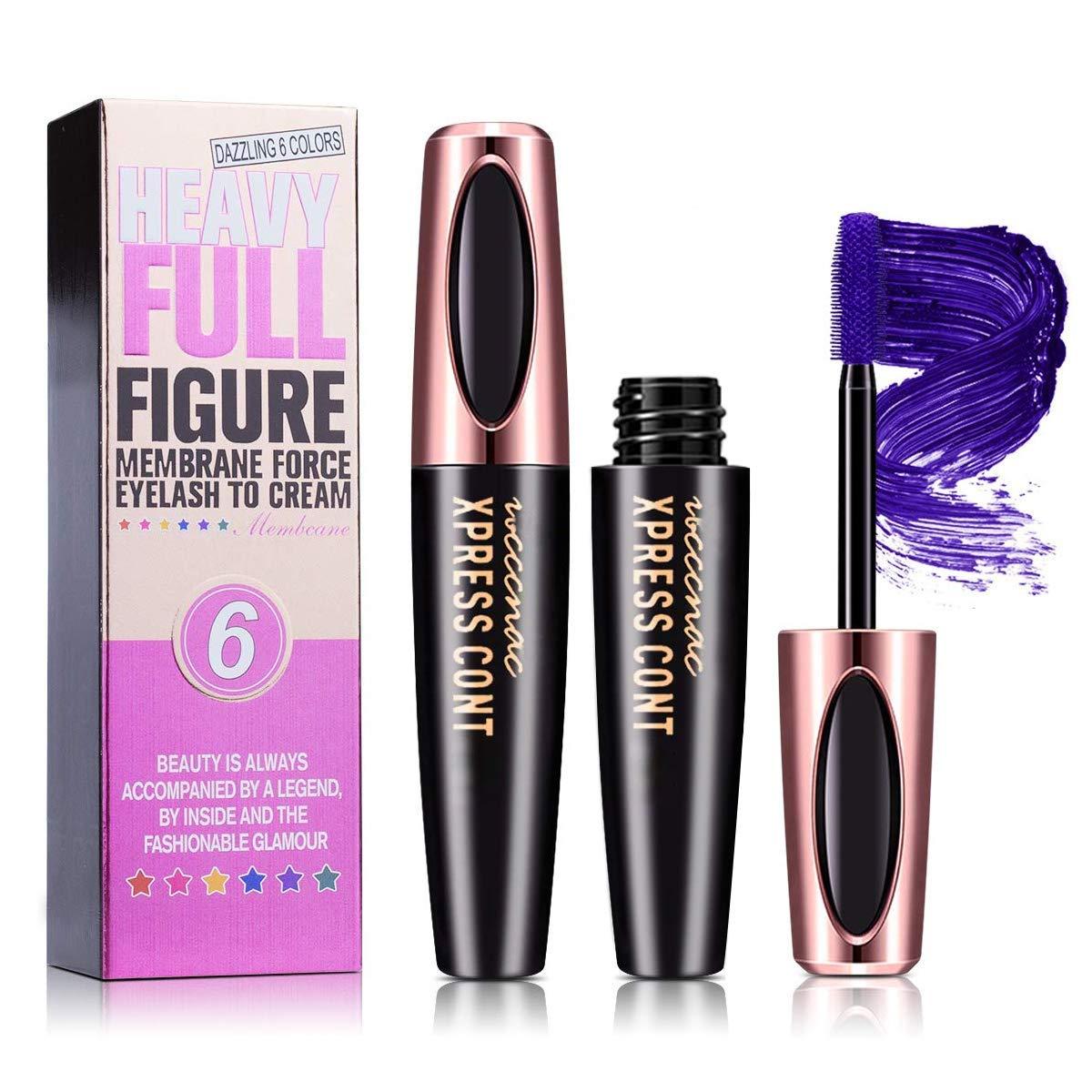 Waterproof Colored Mascara,4D Silk Fiber Lash Mascara,Luxuriously Longer,Thicker,Voluminous Eyelashes,Long-Lasting,Dramatic Extension,Smudge-proof,Hypoallergenic Formula (Purple)