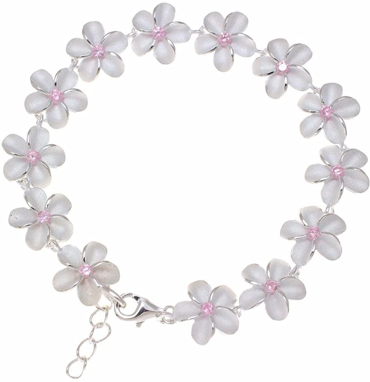 Arthur's Jewelry 925 Sterling Silver Hawaiian Plumeria Flower Link Bracelet Pink cz 12mm 7