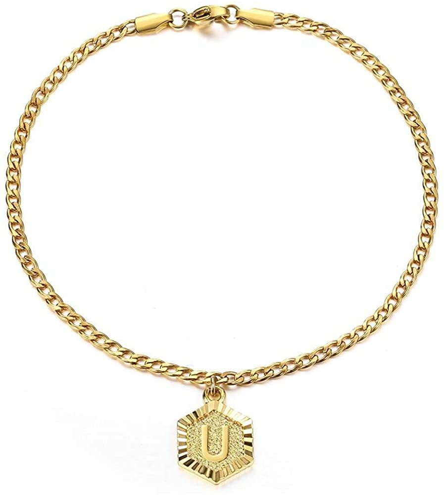 Trendsmax Initial Hexagon A-Z Letter Charm Gold Plated Alphabet Anklet for Women Girls Stainless Steel Curb Cuban Link Chain 10inch Foot Jewelry