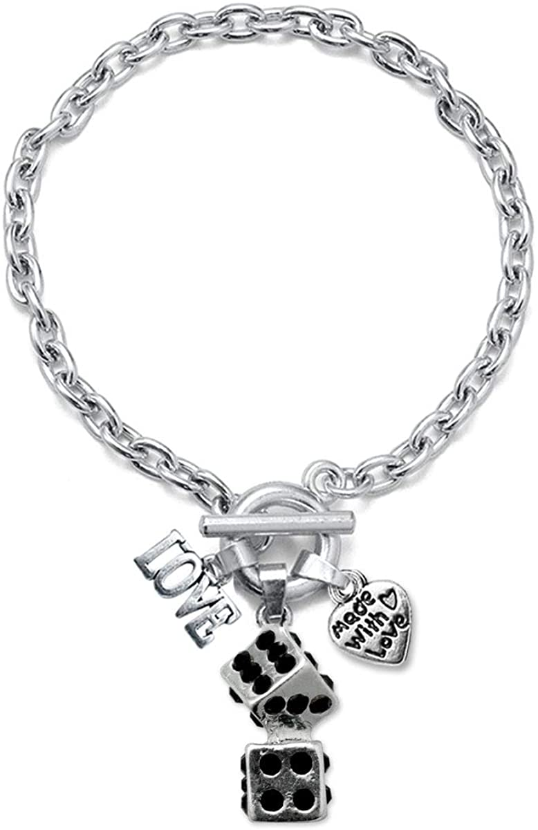 Inspired Silver - Silver Customized Charm Toggle Bracelet with Cubic Zirconia Jewelry