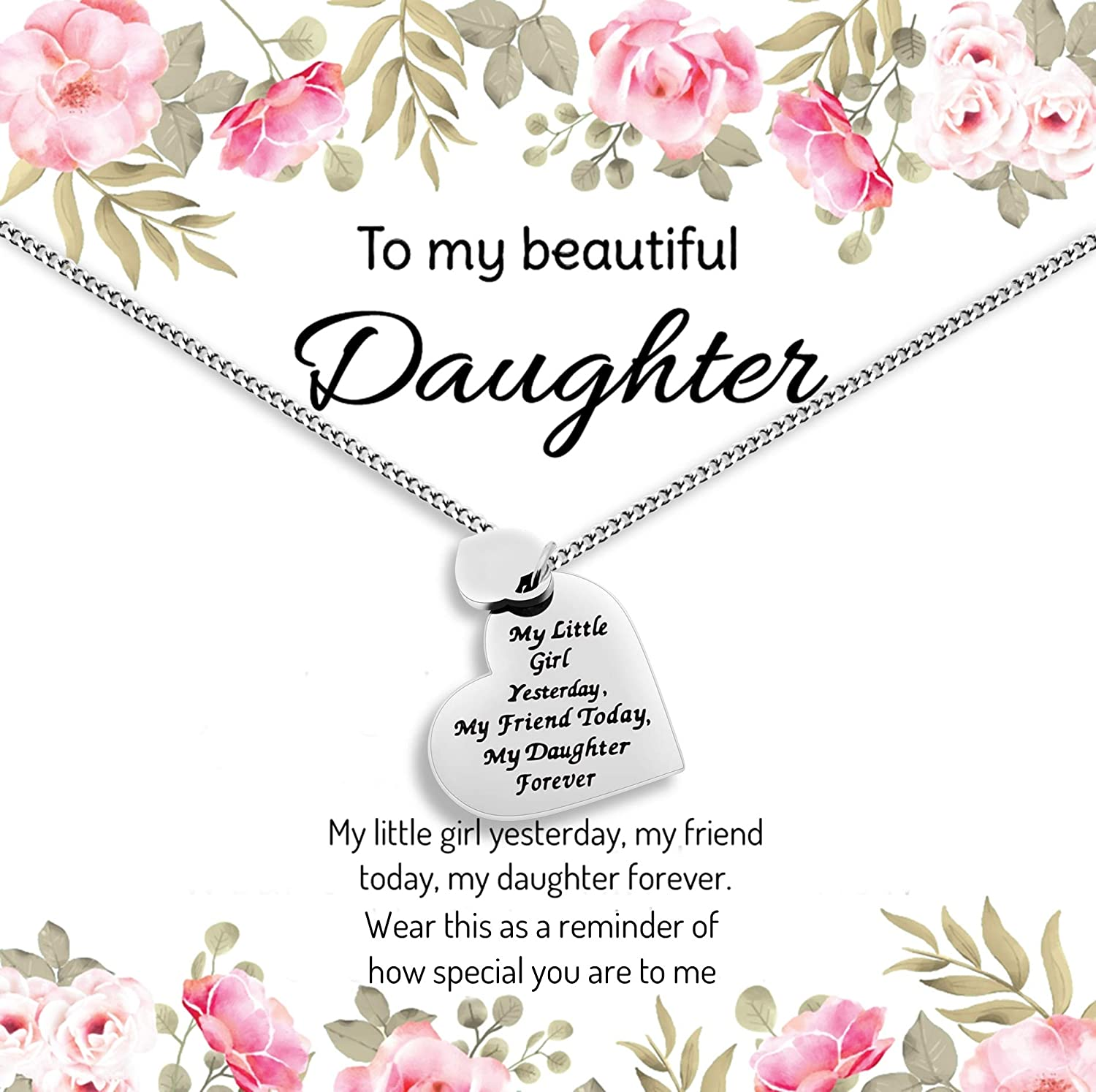 Daughter Gift from Mom or Dad - ''MY LITTLE GIRL YESTERDAY MY FRIEND TODAY MY DAUGHTER FOREVER'' Heart Pendant Necklace for Women & Teen Girls