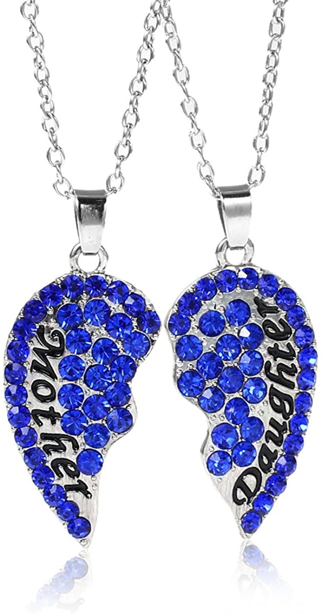 Necklace Long Link Cable Chain Broken Heart Message Mother and Daughter Pendants Royal Blue Rhinestone