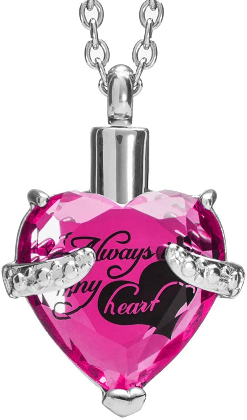 Norya Crystal Cremation Jewelry Urn Necklace for Ashes Always in My Heart Memorial Urn Heart Pendant Keepsake Stainless Steel Jewelry