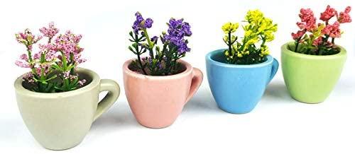 4pcs/set mini ceramic vase artificial plants home deco refrigerator magnets fridge magnet magnetic sticker (Mini vase 1)