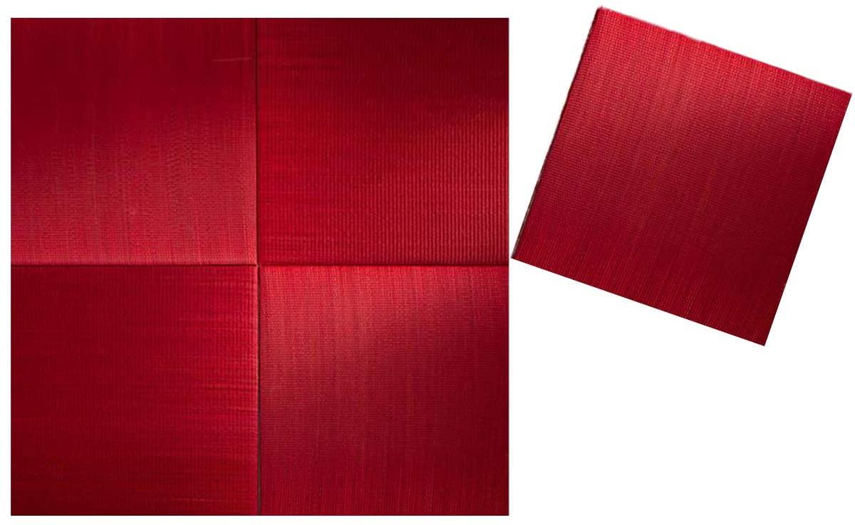 BJDesign Tatami Mat Set - Finely Woven Igusa Grass Flooring & Futon Cushion Pad - Fresh Scent, Non-Slip, Moisture Absorbing Floor Sleeping Mattress - 32x32 Inch (Red - 5Pieces)