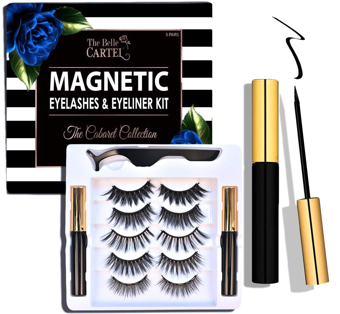 The Belle Cartel Magnetic Eyeliner and Lashes Kit, Magnetic Lashes and Eyeliner Set, Reusable Magnetic Lashes, Dramatic Lashes, Full Volume Magnet Lashes, Party Eyelashes, No Glue (Cabaret - 5 Pairs)