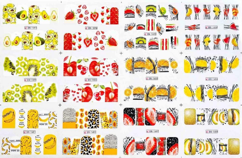 12pcs Cute Cartoon Nail Stickers Water Decals Banana Fruit Character ransfer Slider Nail Art Tattoo Manicure Foil Wraps 2020 New (BN1597-1608)