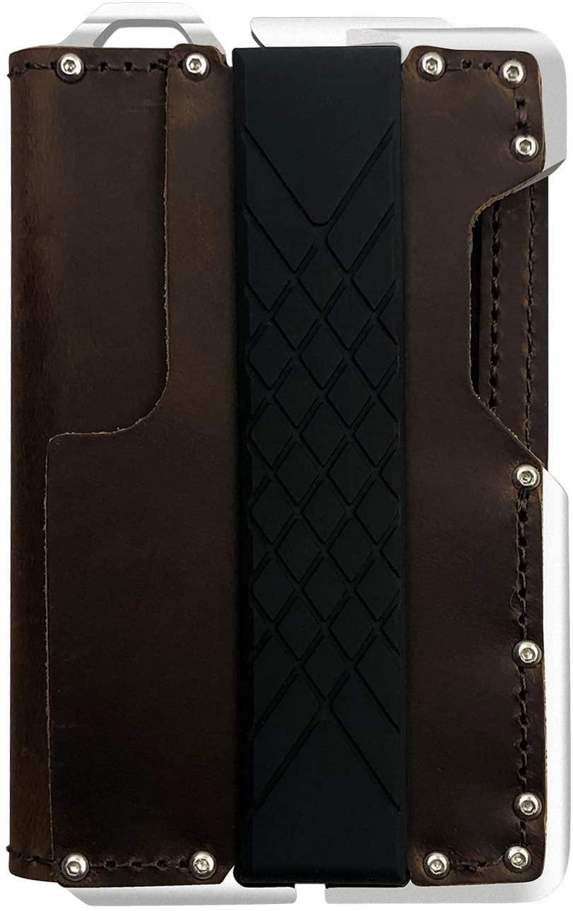 MURADIN Dapper Leather Bifold Wallet – Genuine Tactical Wallet – Minimalist Card Wallet for Men – RFID-Blocking Aluminum Metal Slim Wallet (Crazy Horse)