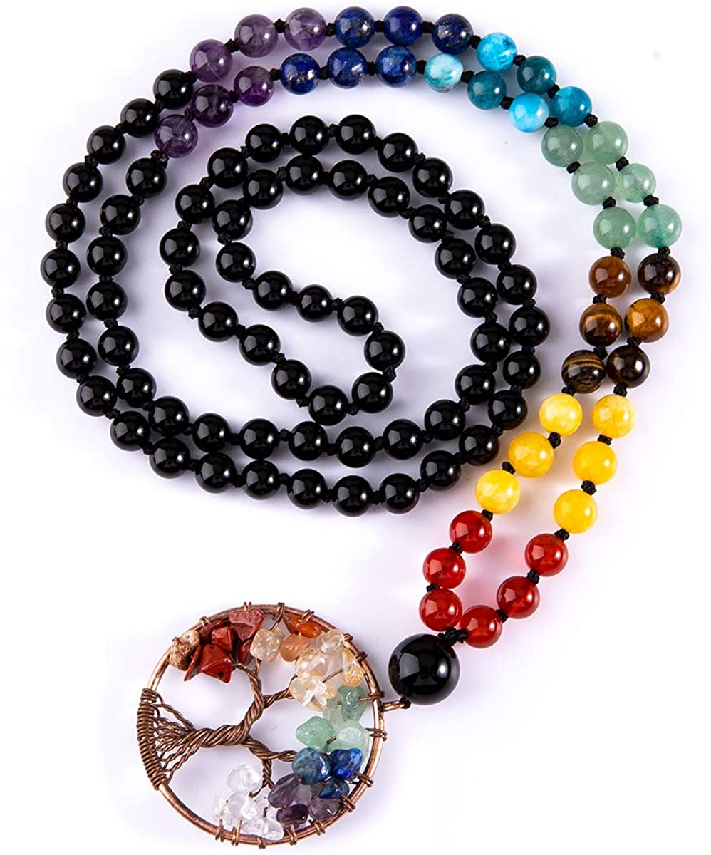 Bivei 108 Mala Beads Bracelet - 7 Chakra Tree of Life Real Healing Gemstone Yoga Meditation Hand Knotted Mala Prayer Bead Necklace