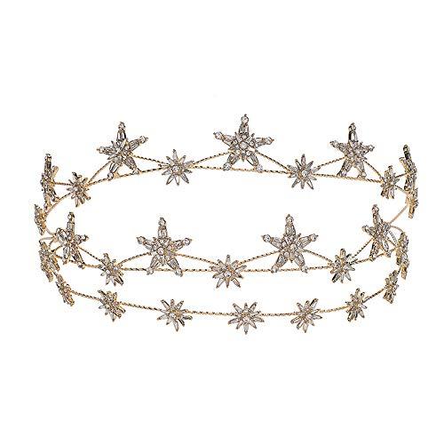 Wedding Crown Gold Star Hair Jewelry Bridal Headpiece woman Rhinestones Crystal Tiaras Bride Party Crowns Wedding Hair Accessories