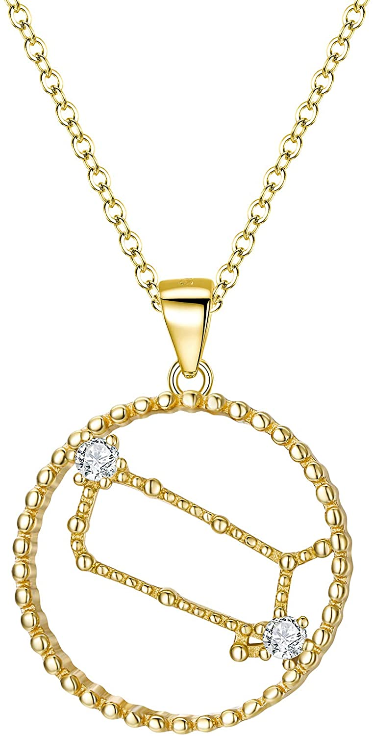 EVER FAITH 925 Sterling Silver CZ Circle 12 Constellation Horoscope Zodiac Sign Daily Pendant Necklace