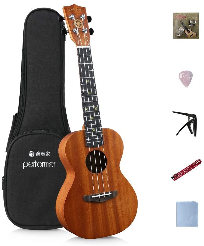 Performer Concert Ukulele 23 inch Mahogany Body Hand Inlaid Pearl Shell Decoration with 10mm Thick Padded Gig Bag & Extra Nylon String For Beginner (DT06)