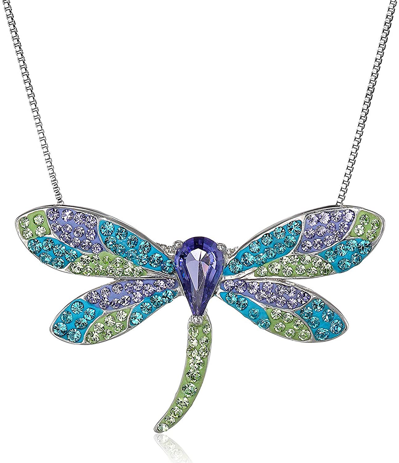 Crystaluxe Dragonfly Pendant Necklace with Swarovski Crystals in Sterling Silver