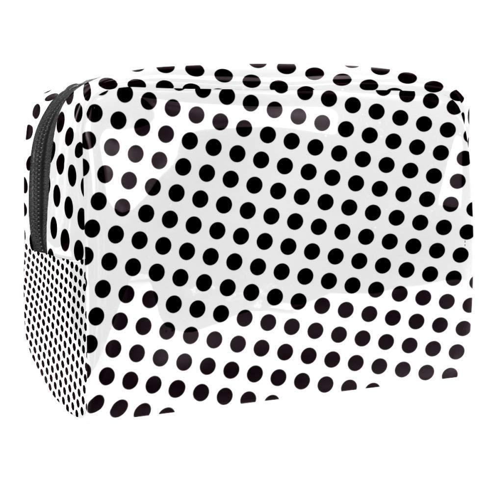 White Black Spots Polka Dots Makeup Bag PVC Waterproof Cosmetic Pouch Portable Handbag for Makeup Tools Organize