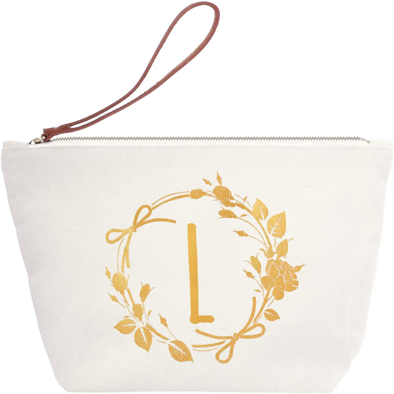 ElegantPark Monogrammed Gifts for Women Personalized Makeup Bag Monogram L Initial Makeup Bag for Wedding Gifts Birthday Gifts Teacher Gifts Cosmetic Bag Canvas
