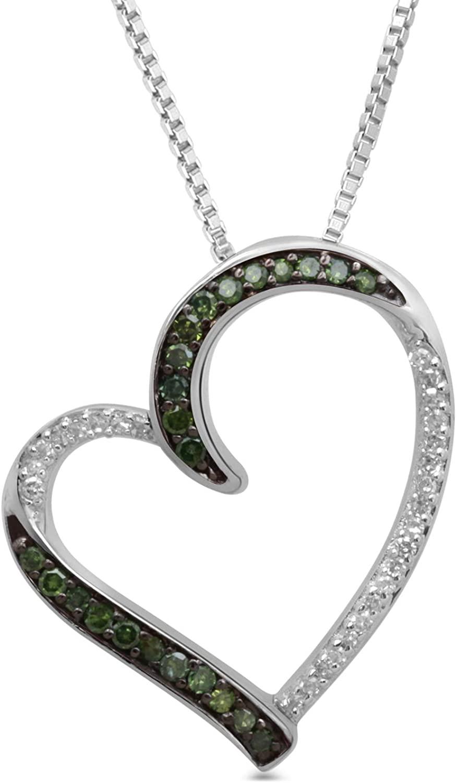 Jewelili Sterling Silver 1/6 cttw Diamond Pendant Necklace, 18