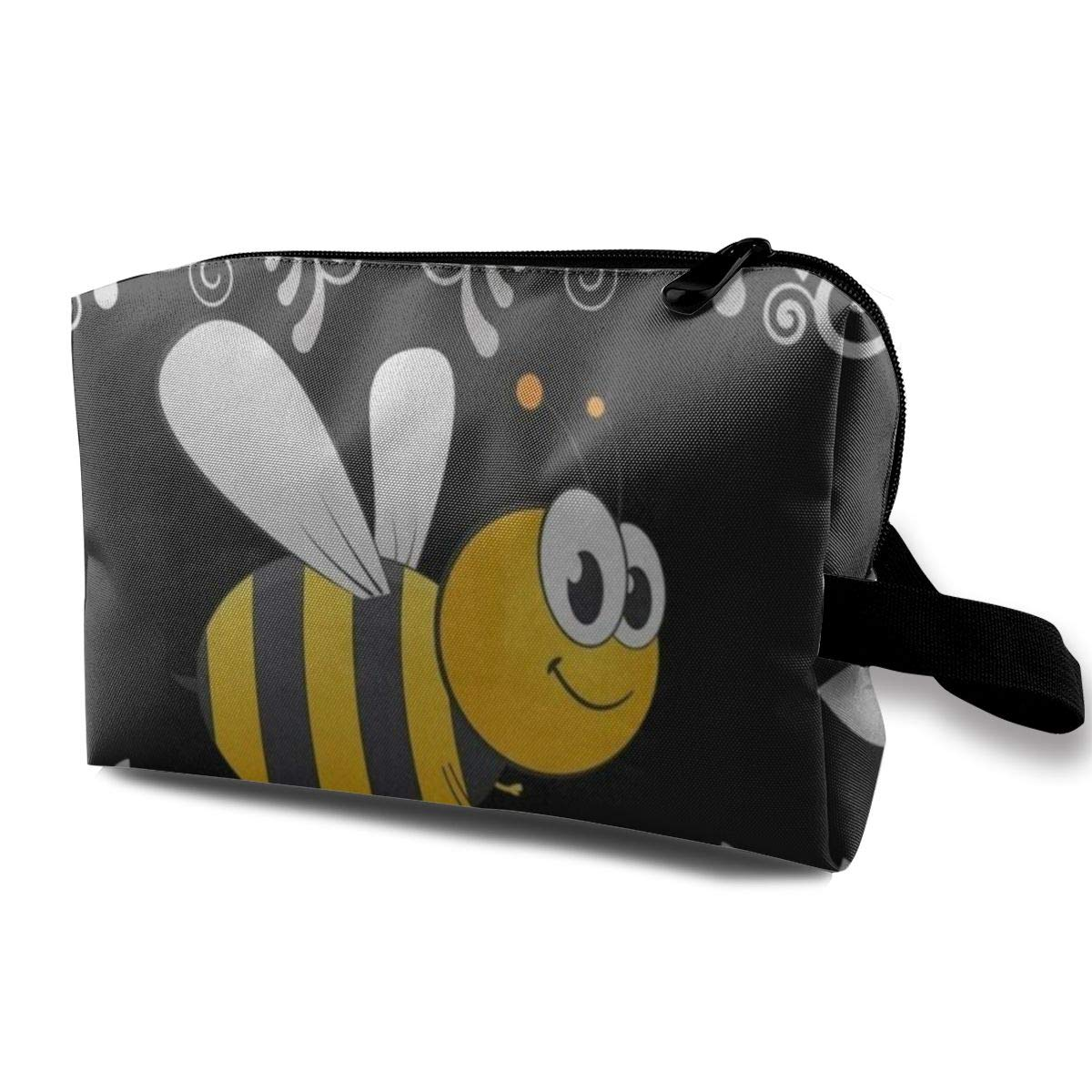 Small Cute Make up Pouch for Purse Makeup Brushes Bag Mini Travel Cosmetic Bag (Bumble Bee)