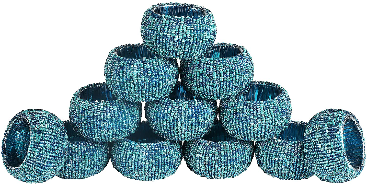 Handmade Multi Beaded Napkin Rings Set, Set of 12, Multi Beaded Napkin Holders, 2 Inch, Hand Made by Skilled artisans - A Beautiful complement to Your Dinner Table décor - Teal Multi