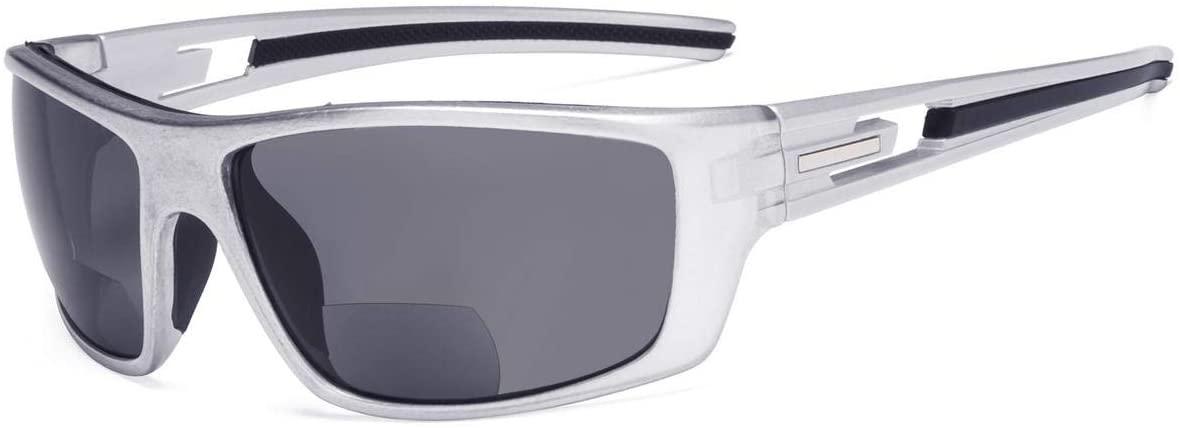 Eyekepper Bifocal Sunshine Readers Reading Sunglasses for Sports TR90 (Pearly Silver Frame - Grey Lens, 1.00)
