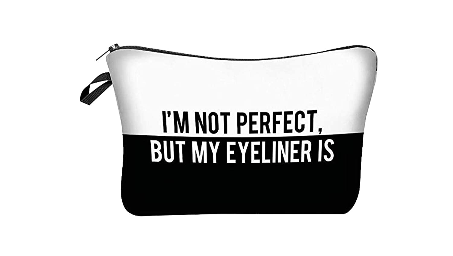 Jshend Cosmetic Bag Small Makeup Pouch Travel Bags For Toiletries/Accessories Organizer /3D Printing Women Cosmetic Bag Multifuncition Pencil Holder (BlackP)