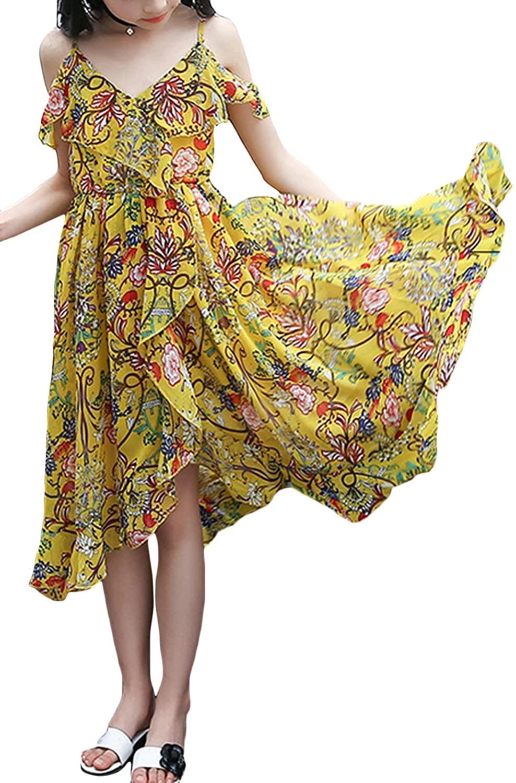 Aulase Baby Girls Spaghetti Strap Off Shoulder Floral Dress V Neck Chiffon Ruffle Swing Dress Bohemian Sundress
