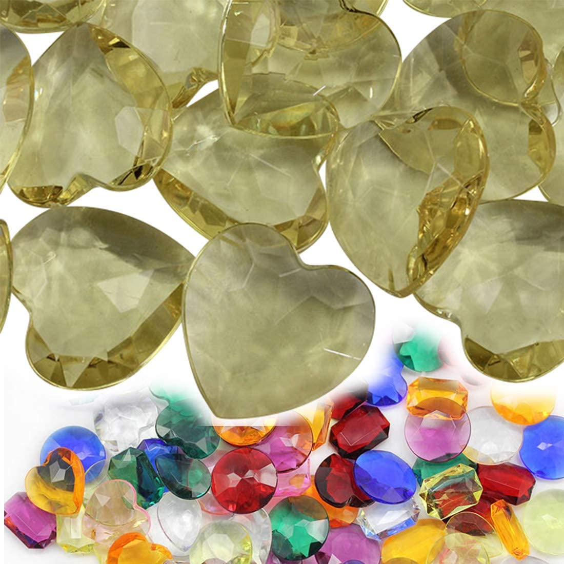 27mm Yellow CH23 Heart Acrylic Pirate Treasure Gems Plastic Jewels for Party & Games, Table Scatter, Vase Fillers, Wedding Decor Gemstones Favors - 20 Pieces