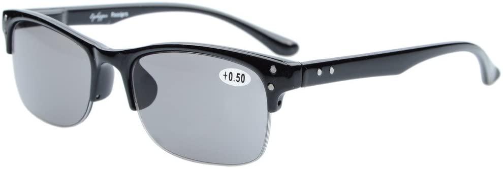 Eyekepper Plastic Frame Spring Hinges Half-Rim Reading Glasses Sunshine Readers Grey Tinted Lenses +1.5