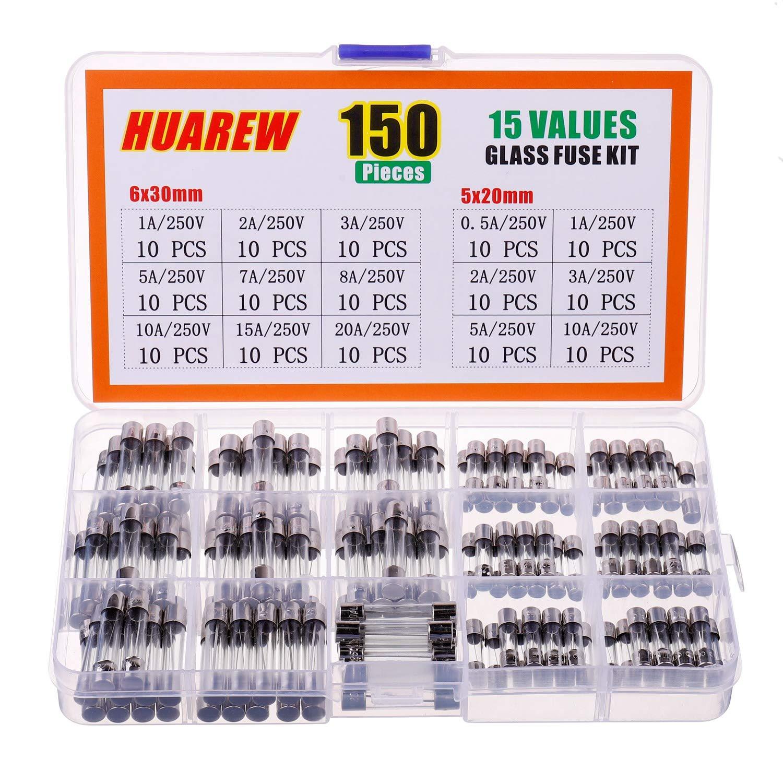 HUAREW 15 Values 150 Pcs Fast Blow Glass Fuses 250V Volt 5x20 mm 0.5 1 2 3 5 10 A 6x30 mm 1 2 3 5 7 8 10 15 20 A amp Assortment Kit