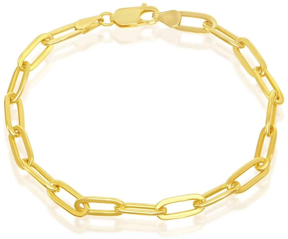 Sterling Silver Paperclip Chain Bracelet for Women Rhodium or 14k Gold Plated Link 7