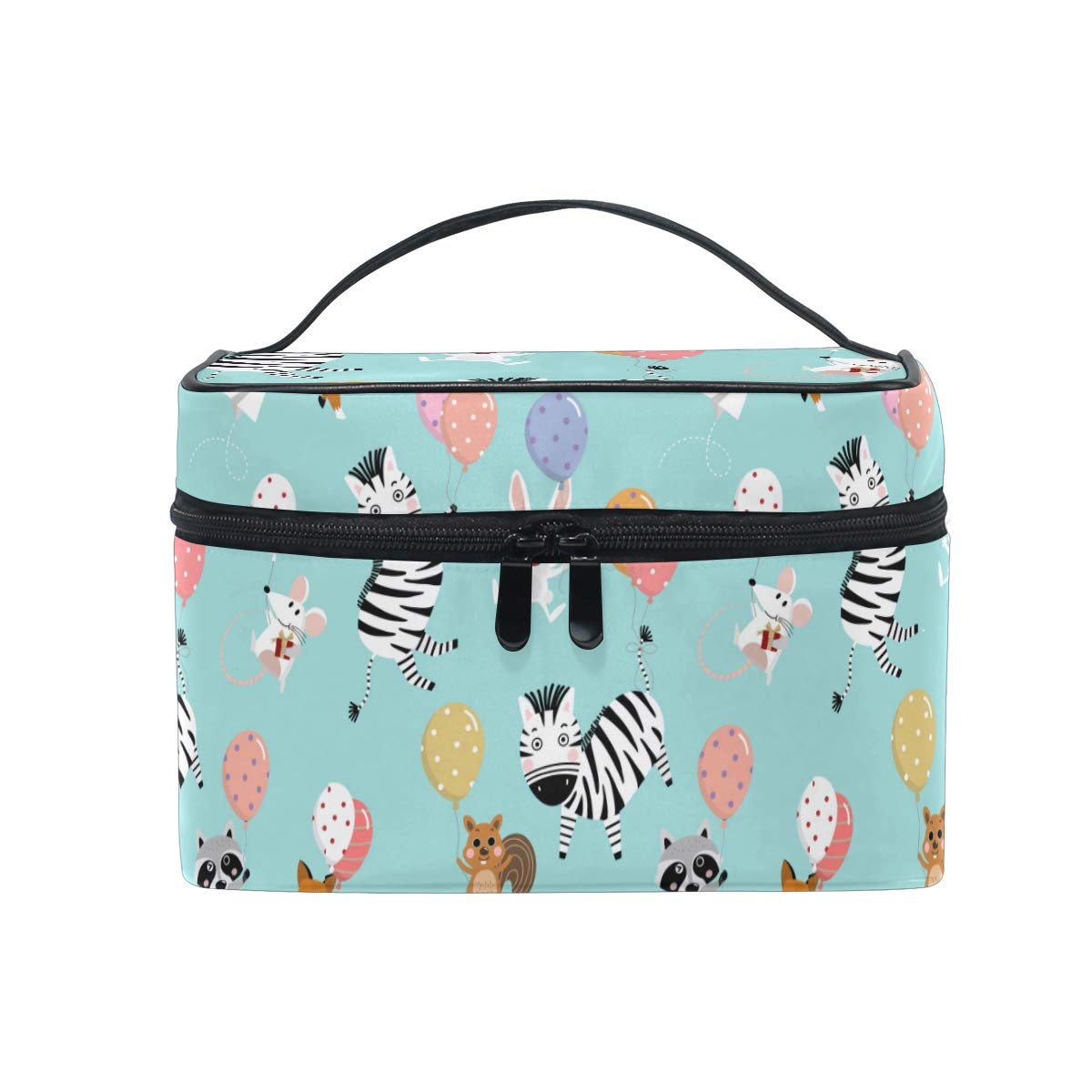 Cute Zebra Squirrel Balloons Women Makeup Bag Travel Cosmetic Bags Toiletry Train Case Beauty Pouch Organizer