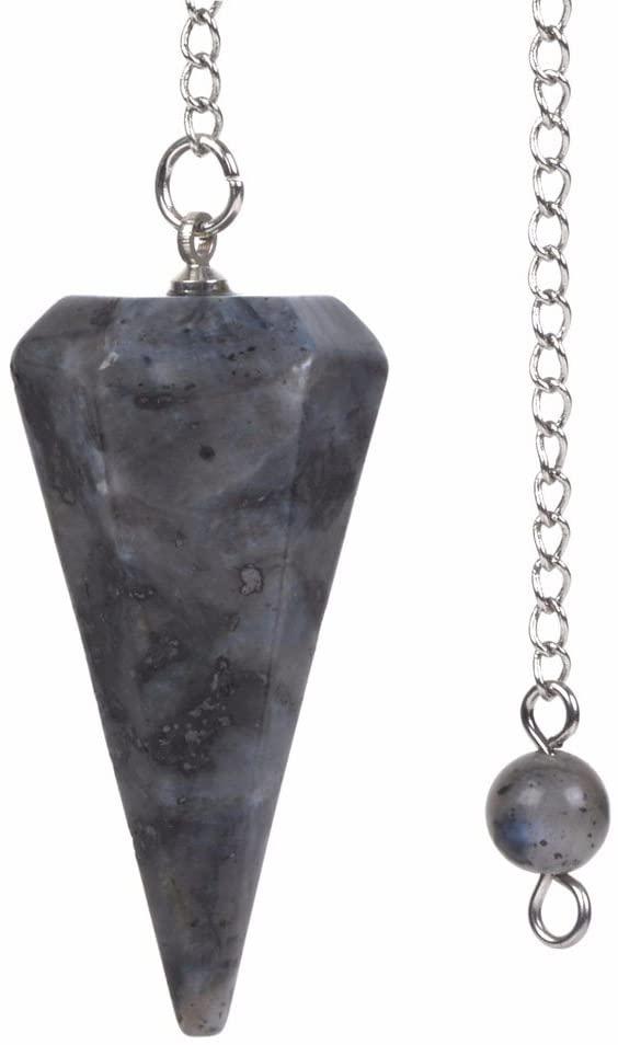 Justinstones Natural Larvikite Gemstone Rock Crystal Hexagonal Pointed Reiki Chakra Pendant Pendulum
