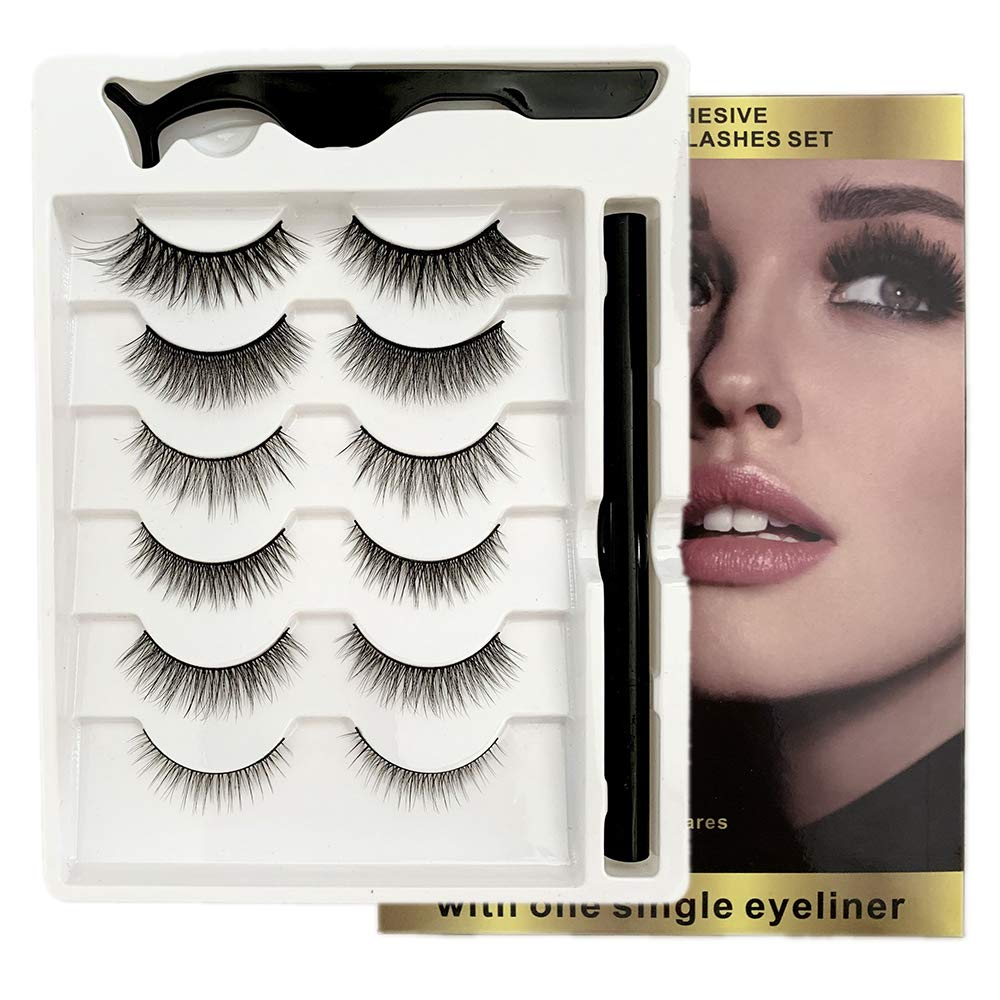 Updated 3D Self- Adhesive Eyelashes with Eyeliner Kit, No glue and No Magnet, Reusable and Natural Look False eyelashes, Waterproof and Fast Dry Liquid Eyeliner(6 Pairs)