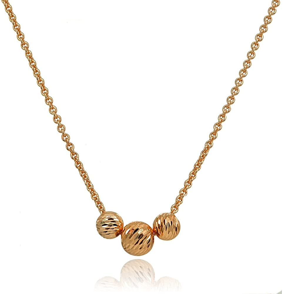 Hoops & Loops Sterling Silver Diamond-Cut Sliding Beads Necklace