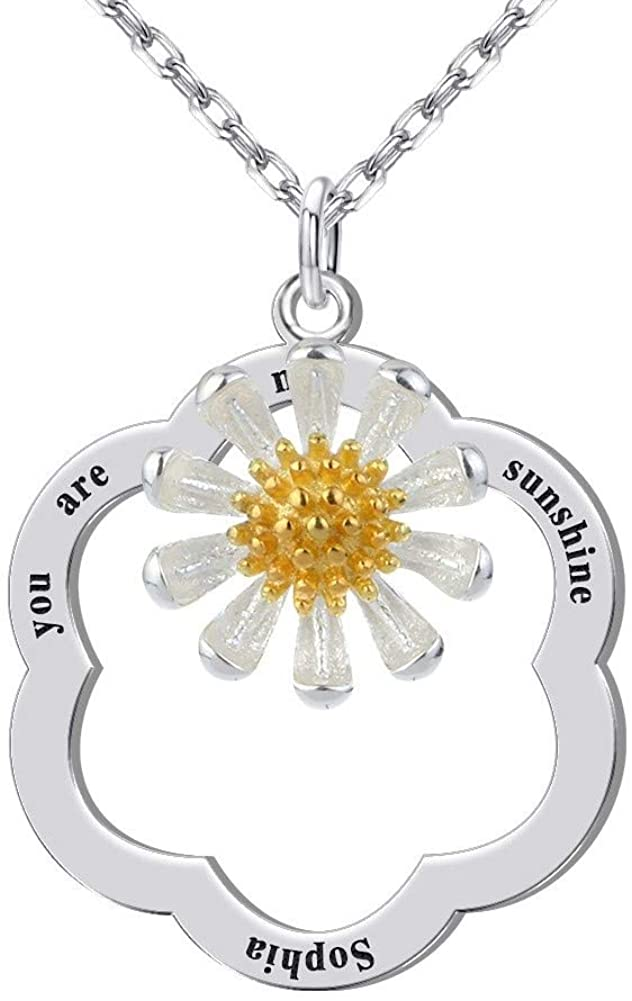 You are My Sunshine Necklace, Personalized Daisy Necklace with Name Engraved Sunflower Pendant Jewelry for Women