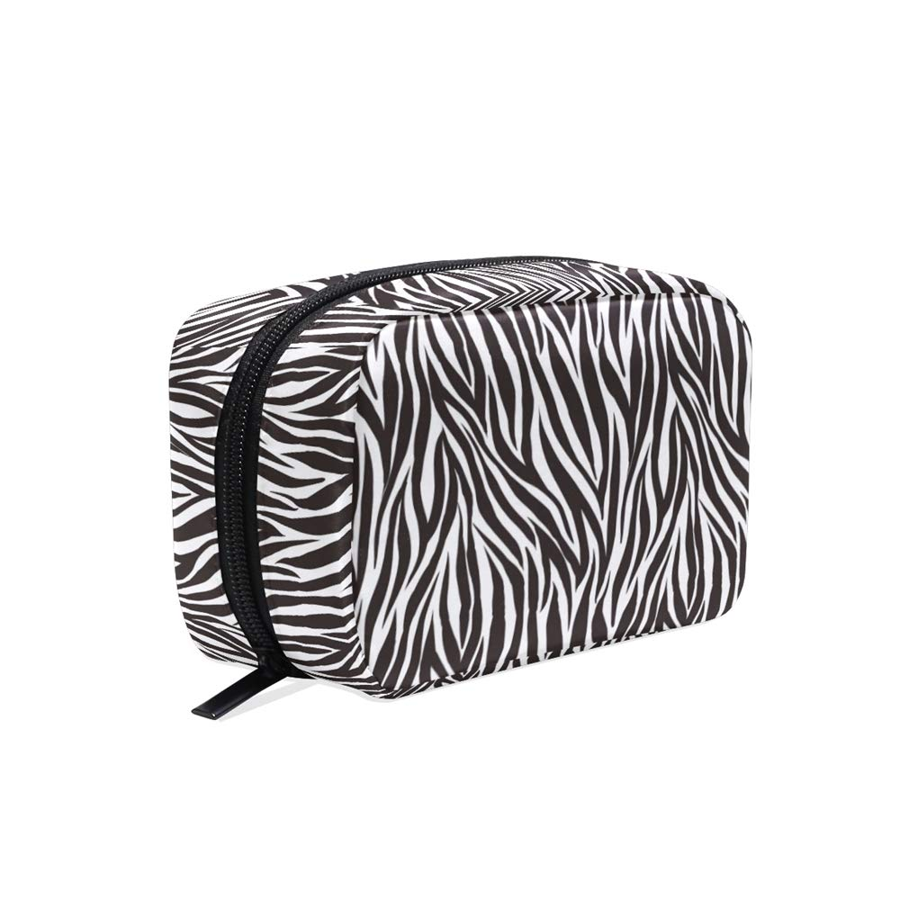 ALAZA Stylish Animal Zebra Print Travel Makeup Cosmetic Case Portable Toiletry Storage Bags for Women Girls