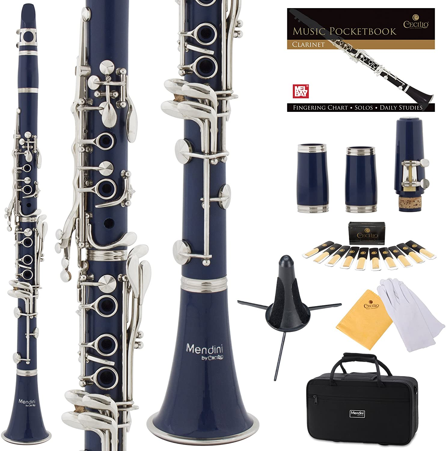 Mendini by Cecilio B Flat Beginner Student Clarinet with 2 Barrels, Case, Stand, Book, 10 Reeds, Mouthpiece and Warranty (Blue)