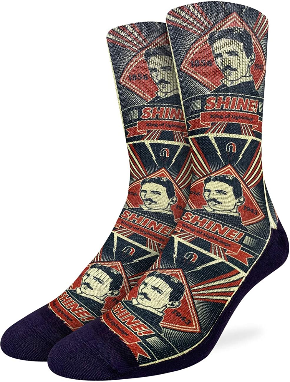 Good Luck Sock Men's Nikola Tesla Socks - Red, Adult Shoe Size 8-13